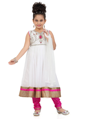 Girl's Pink color Art Silk Incredible Girl's Readymade Salwar Kameez in Embroidered with Mix Embroidery
