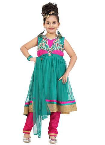 Girl's Art Silk Pink color Girl's Readymade Salwar Kameez with Incredible Butta Work