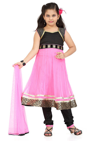 Girl's Art Silk Pink color Incredible Girl's Readymade Salwar Kameez with Butta Work