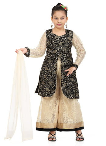 Girl's Incredible Cream color Art Silk Girl's Readymade Salwar Kameez in Embroidered with Mix Embroidery