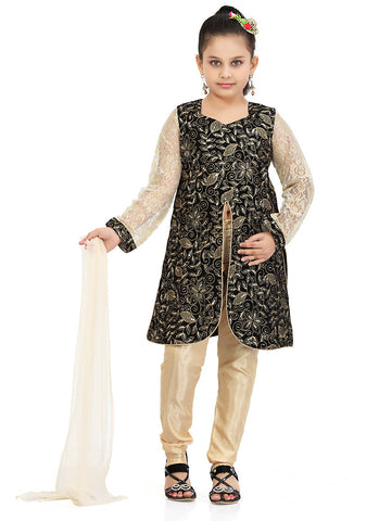 Girl's Cream color Art Silk Incredible Girl's Readymade Salwar Kameez in Embroidered with Mix Embroidery