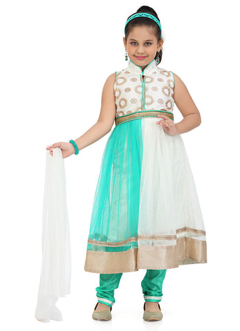 Girl's Incredible Turquoise Art Silk in Embroidered Girl's Readymade Salwar Kameez