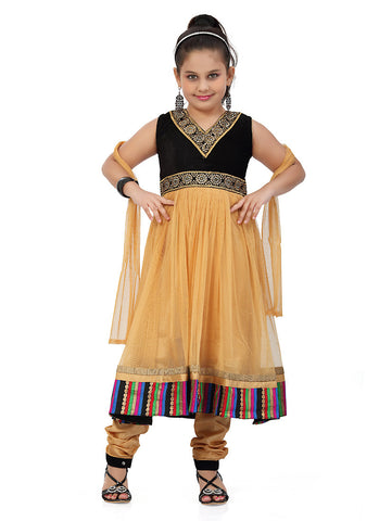 Girl's Brown Art Silk in Embroidered Incredible Girl's Readymade Salwar Kameez
