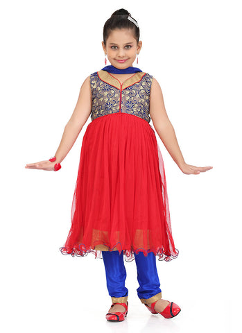 Girl's Art Silk Blue color Girl's Readymade Salwar Kameez with Incredible Butta Work