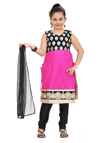 Girl's Incredible Black Art Silk Girl's Readymade Salwar Kameez