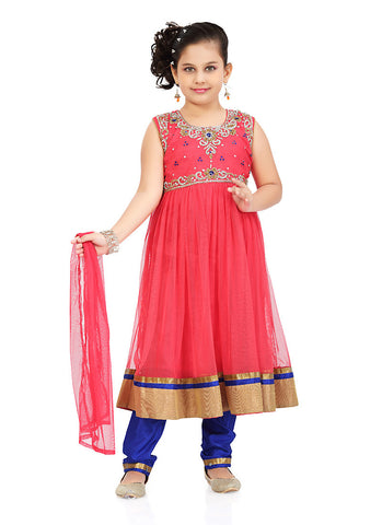 Girl's Incredible Blue Art Silk in Solid Girl's Readymade Salwar Kameez