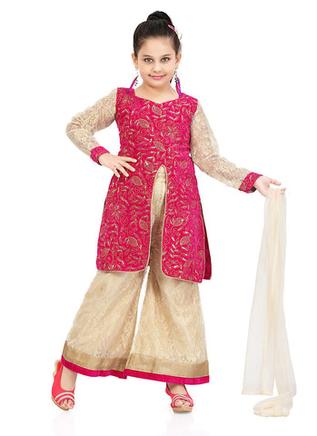 Girl's Art Silk Cream color Girl's Readymade Salwar Kameez with Incredible Butta Work
