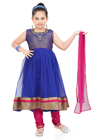 Girl's Incredible Pink Art Silk in Solid Girl's Readymade Salwar Kameez