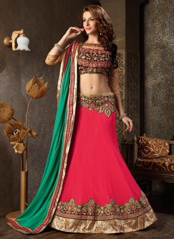 Women's Georgette Fabric Deep Pink Pretty Unstitched Lehenga Choli With Lace Work Dupatta