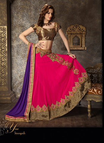 Women's Georgette Fabric & Deep Pink Pretty Circular Lehenga Style With Lace Work Dupatta