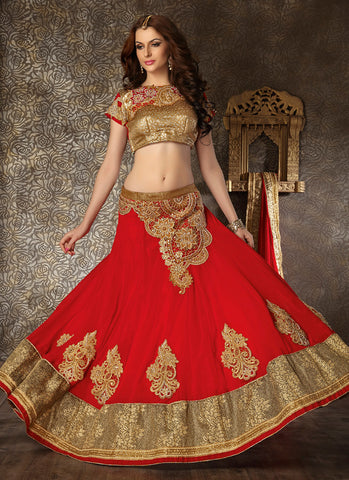 Women's Georgette Fabric & Red Pretty Circular Lehenga Style
