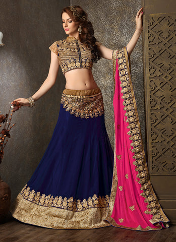 Women's Pretty Circular Lehenga Style in Navy Blue With Lace Work Dupatta