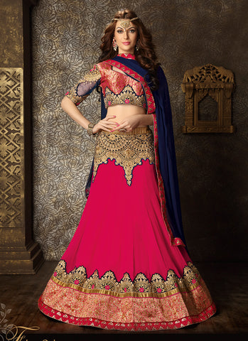 Women's Georgette Fabric & Deep Pink Color Pretty Circular Lehenga Style With Lace Work Dupatta