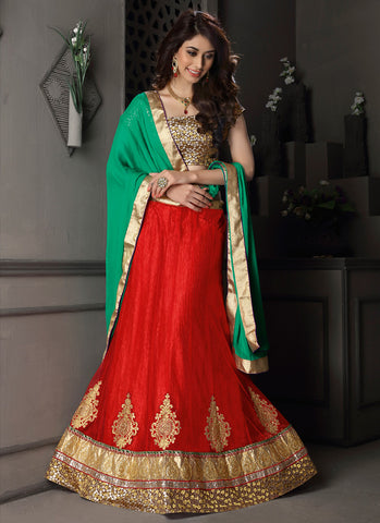 Women's Gota Silk Fabric & Red Pretty A Line Lehenga Style