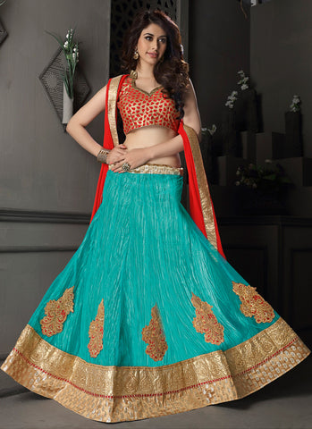 Women's Gota Silk Fabric & Green Pretty A Line Lehenga Style