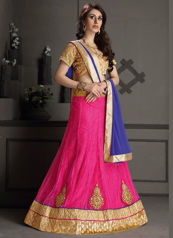 Women's Gota Silk Fabric & Pink Color Pretty A Line Lehenga Style