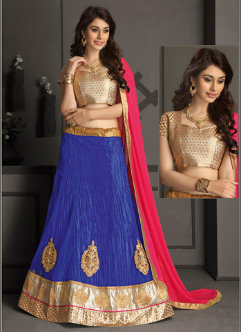 Women's Gota Silk Fabric & Blue Pretty A Line Lehenga Style