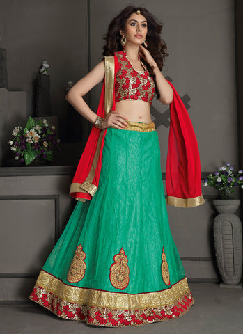Women's Gota Silk Fabric & Green Color Pretty A Line Lehenga Style