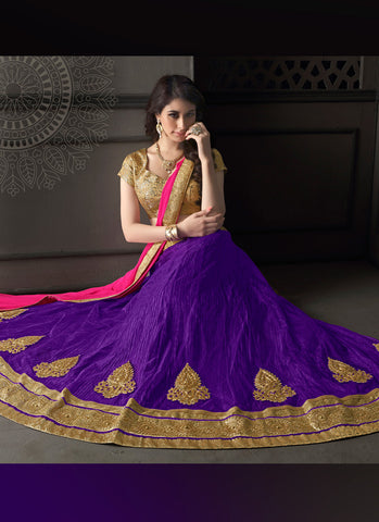 Women's Net Fabric & Purple Pretty Circular Lehenga Style