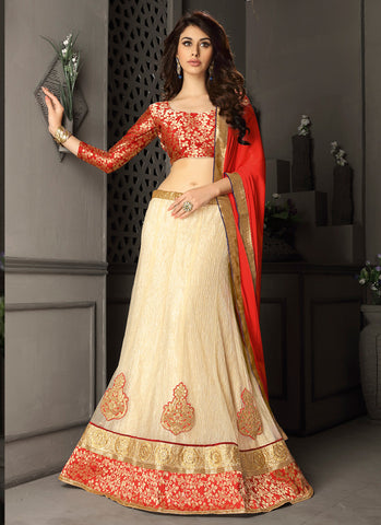 Women's Gota Silk Fabric & Cream Pretty Circular Lehenga Style