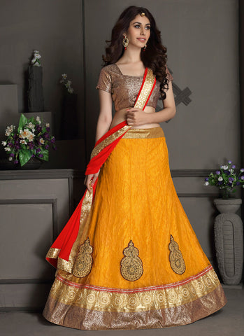 Women's Gota Silk Fabric & Yellow Pretty Circular Lehenga Style