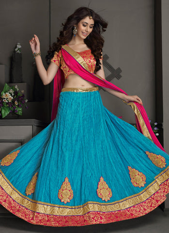Women's Gota Silk Fabric & Blue Pretty Circular Lehenga Style