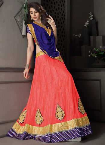 Women's Gota Silk Fabric & Pink Color Pretty Circular Lehenga Style
