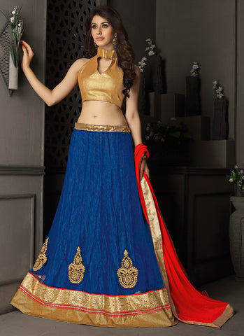 Women's Gota Silk Fabric & Blue Color Pretty Circular Lehenga Style