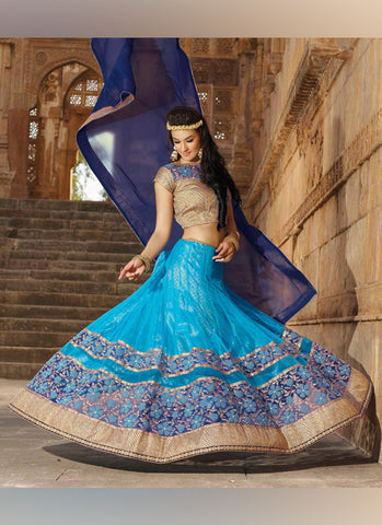 Women's Pretty Circular Lehenga Style in Sky Blue With Lace Work Dupatta