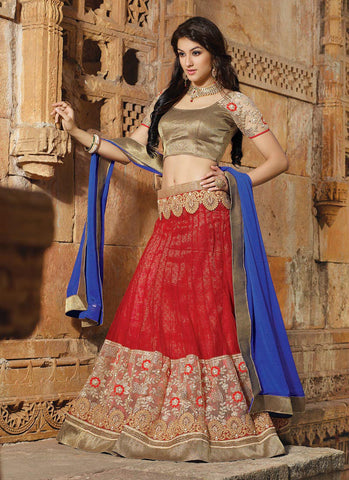 Women's Pretty Circular Lehenga Style in Red With Lace Work Dupatta