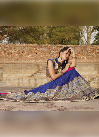 Women's Pretty Circular Lehenga Style in Royal Blue Color With Lace Work Dupatta