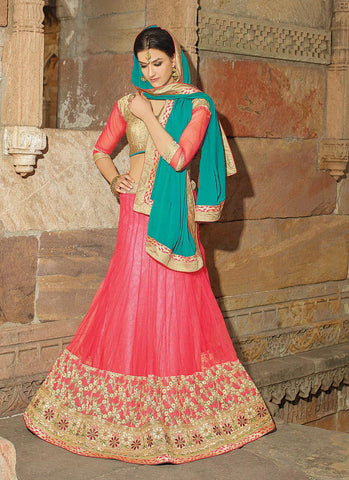 Women's Net Fabric & Salmon Pretty Circular Lehenga Style With Lace Work Dupatta