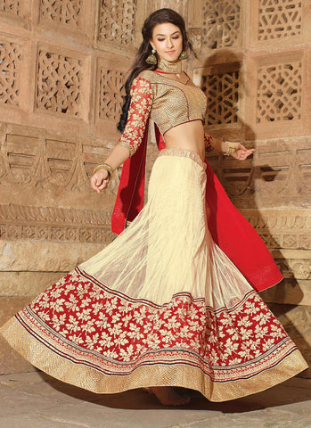 Women's Net Fabric & Cream Pretty Circular Lehenga Style With Lace Work Dupatta