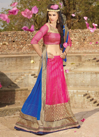Women's Net Fabric & Deep Pink Color Pretty Circular Lehenga Style With Lace Work Dupatta
