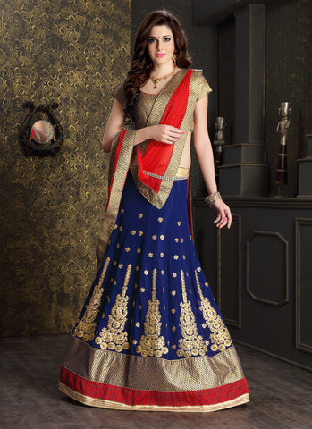 Women's Georgette Fabric & Royal Blue Pretty Circular Lehenga Style With Lace Work Dupatta