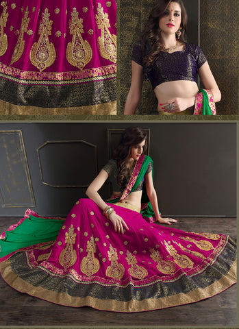 Women's Deep Pink Pretty Circular Lehenga Style With Lace Work Dupatta