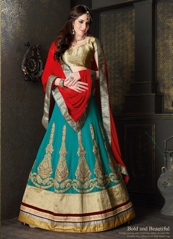Women's Pretty Circular Lehenga Style in Teal Blue With Lace Work Dupatta
