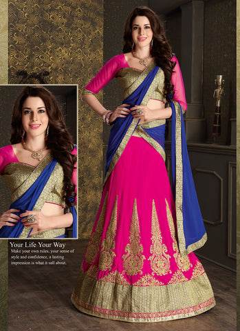 Women's Deep Pink Color Pretty Circular Lehenga Style With Lace Work Dupatta