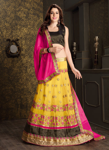 Women's Georgette Fabric & Yellow Pretty Circular Lehenga Style
