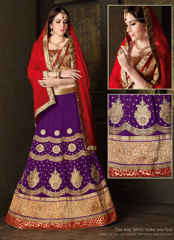 Women's Georgette Fabric & Purple Pretty Circular Lehenga Style