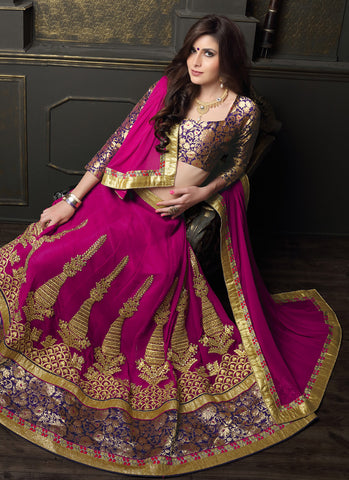 Women's Deep Pink Pretty Circular Lehenga Choli With Lace Work Dupatta