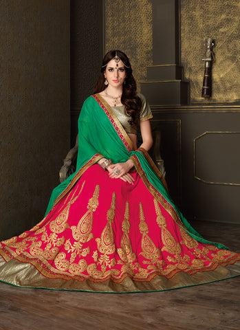 Women's Deep Pink Color Pretty Circular Lehenga Choli With Lace Work Dupatta