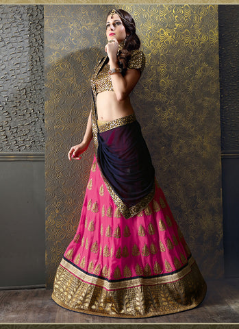 Women's Deep Pink Georgette Fabric Pretty Unstitched Lehenga Choli With Lace Work Dupatta