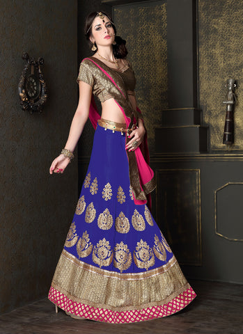 Women's Georgette Fabric & Royal Blue Color Pretty Circular Lehenga Style With Lace Work Dupatta