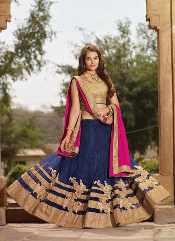 Women's Lycra Fabric & Blue Pretty Circular Lehenga Style