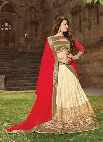 Women's Lycra Fabric & Cream Pretty Circular Lehenga Style
