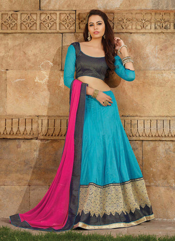 Women's Lycra Fabric & Blue Pretty Unstitched Lehenga Choli