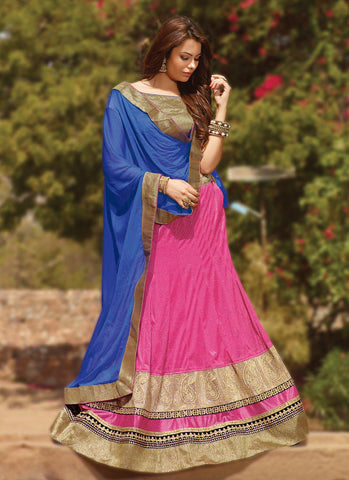 Women's Lycra Fabric & Pink Color Pretty Circular Lehenga Style
