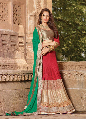 Women's Lycra Fabric & Red Pretty Circular Lehenga Style