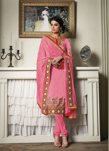 Straight Cut Style Pink with Butta Work Astounding Unstitched Salwar Kameez